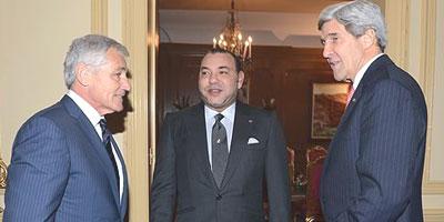 Sa Majesté reçoit à Casablanca le Secrétaire d'Etat américain John Kerry.