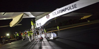 Solar Impulse décolle de l'Aéroport de Rabat-Salé à  destination de Madrid