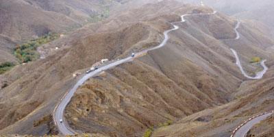 La route nationale N9 reliant Marrakech à Ouarzazate coupée