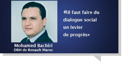 Mohamed Bachiri : Â«Il faut faire du dialogue social  un levier  de progrès»