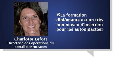 Charlotte Lefort : Seulement 8% des candidats inscrits à notre portail sont non diplômés