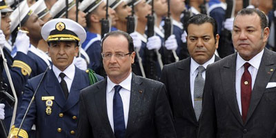 Cérémonie d'accueil officiel à Casablanca du Président François Hollande