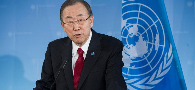 Ban Ki-Moon réagit après la marche de Rabat