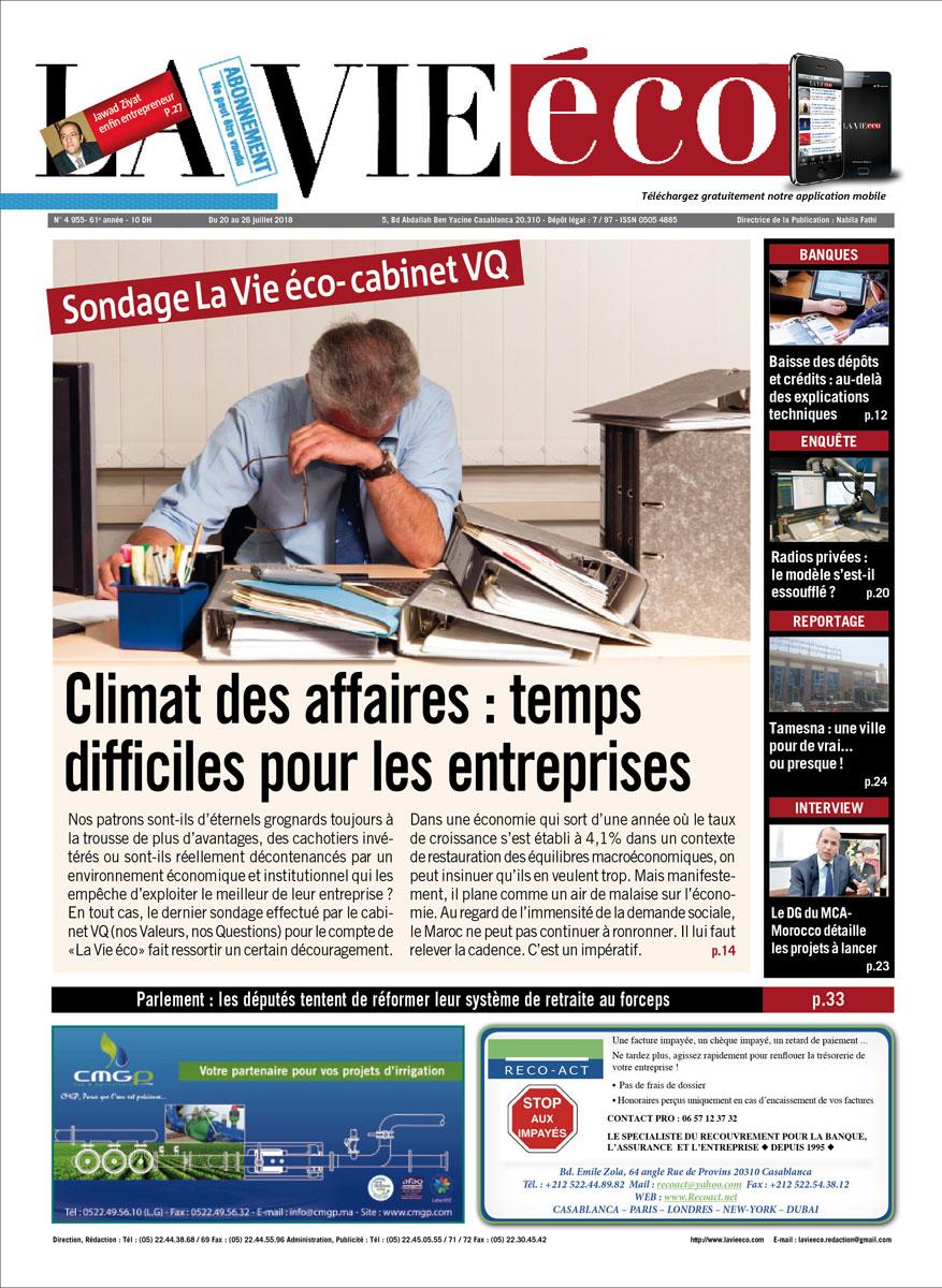 Retrouvez EN KIOSQUE, le numéro 4 955 du journal La Vie éco du 20 Juillet 2018.