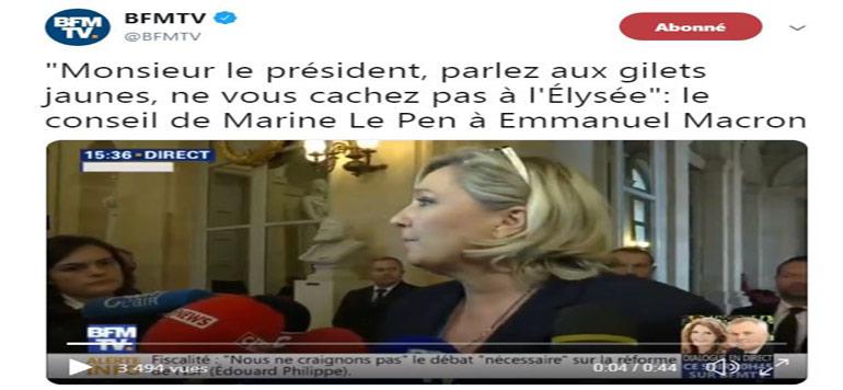 Marine Le Pen : «Monsieur le président, parlez aux gilets jaunes, ne vous cachez pas à l'Élysée»