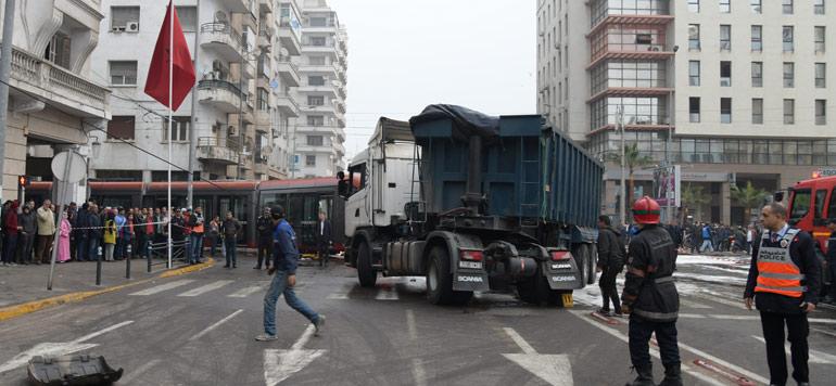 En photos.  Accident de tramway à Casablanca, ce matin