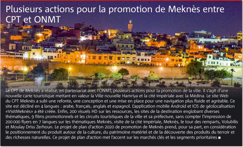 Plusieurs actions pour la promotion de Meknès entre CPT et ONMT